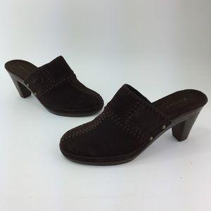 Isotoner Women's Mule Clog Shoes Heels Dark Brown